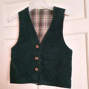 Forest Green Corduroy & Plaid Reversible Vest Jr S